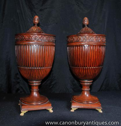 Pair George II Mahogany Knife Urns Carved Boxes