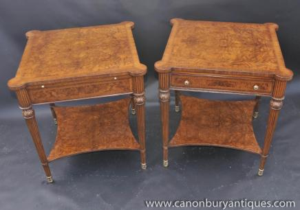 Pair Regency Burr Walnut End Tables Side Occasional Table