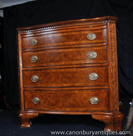 Regency Walnut Batchelors Chest Serpentine Drawers Nightstand