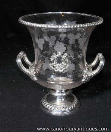 Victorian Etched Glass Silver Plate Campana Urn Tankard