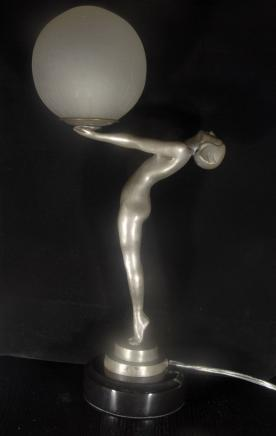Art Deco Biba Clarte Girl Bronze Lamp Figurine