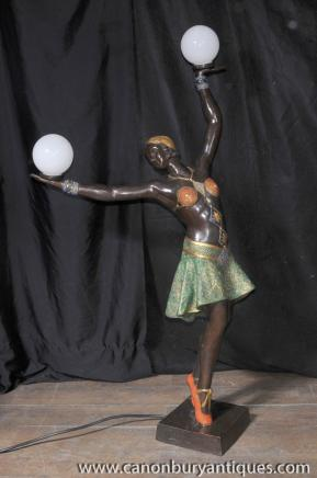 Large French Bronze Art Deco Dancer Light Lamp Figurine Statue