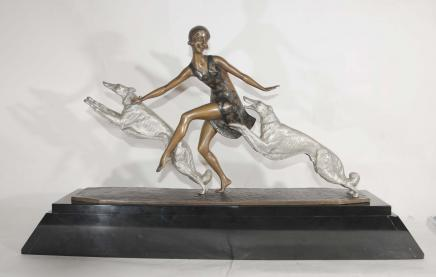 Art Deco Borzoi Dog Figurine Bronze Lormier