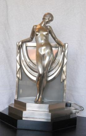 Art Deco Bronze Figurine Lamp Light Statue 1920s