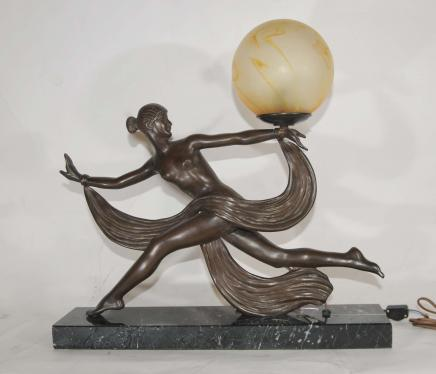 Art Deco Bronze Figurine Lamp Signed Ouline 1920s