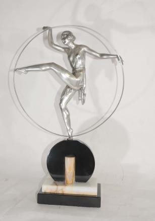 Art Deco Bronze Hoop Dancer Signed Limouin