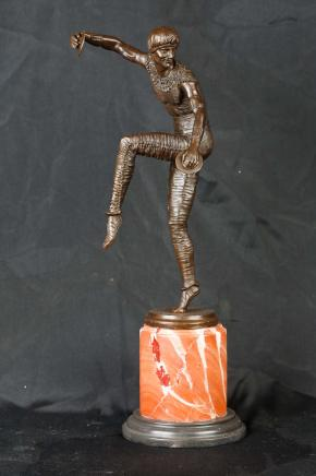 Art Deco Chiparus Bronze Statue Harlequin Figurine Cymbal Dancer
