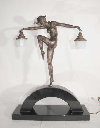 Bronze Deco Harlequin Dancer Lamp by Bourraine