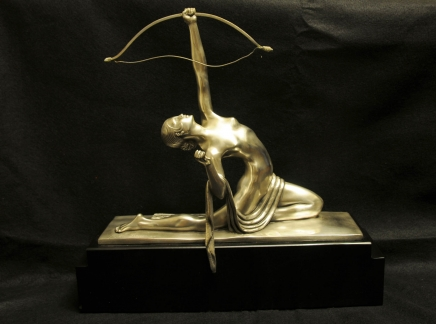 French Art Deco Bronze Diana Archer Statue Bourraine