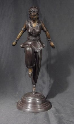 French Art Deco Chiparus Graceful Dancer Figurine Egypt