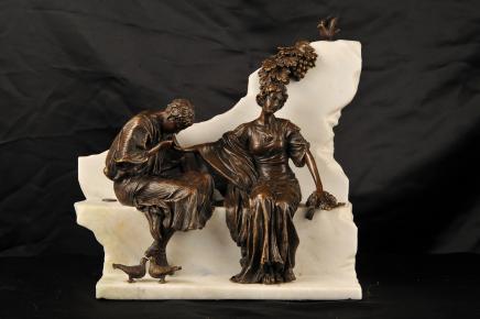 Italian Roman Lovers Bronze Statue Sienna Marble