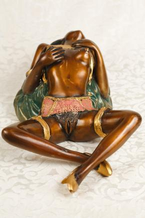 Bronze Nude Female Figurine Sexy Burlesque Naked Dancer Girl Erotic Kitsch
