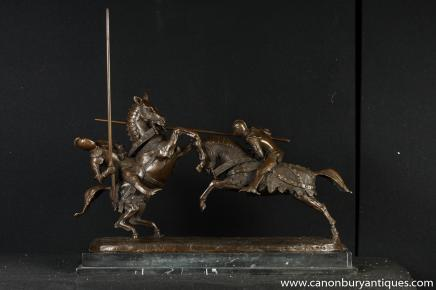 Bronze Statue English Knights Jousting Horse Battle Bronze Medieval