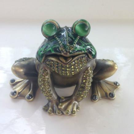 Beautiful Enamel & Diamonte Frog Trinket Keepsake
