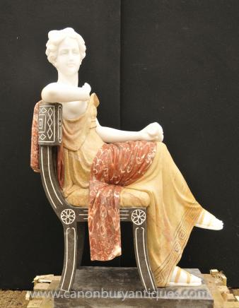 Italian Marble Hand Carved Roman Seated Maiden Statue Sculpture