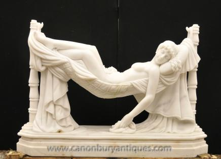 Italian Marble Statue Sleeping Beauty by Antonio Frilli Carved Sculpture Nude