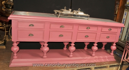 Large Pink English Painted Kitchen Dresser Shabby Chic Farmhouse