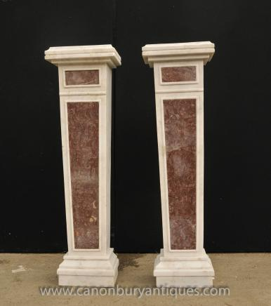 Pair French Empire Marble Pedestal Table Column Stands