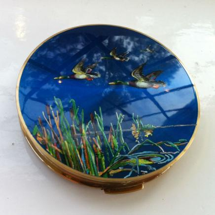 1950s Flying Ducks Enamel Compact By Stratton of London