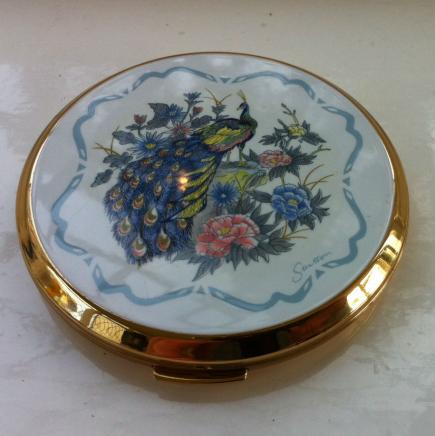 1950s Stratton of London Peacock Mirror Powder Compact