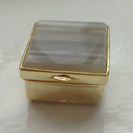 Agate & Gold Metal Pill Box