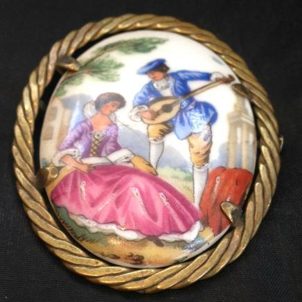 Antique French Limoge Brooch