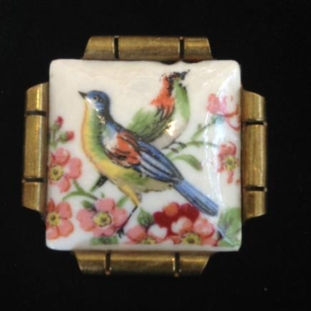 Antique Limoge Porcelain Exotic Bird Brooch