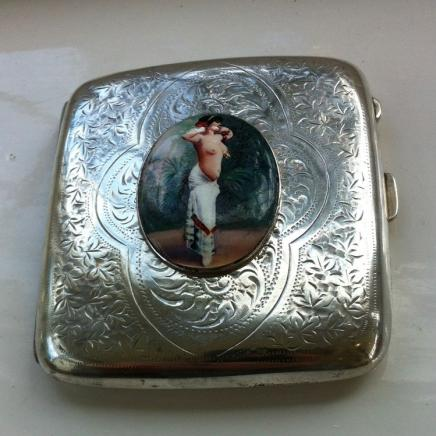 Antique Sterling Silver Cigarette Case with Enamel Nude