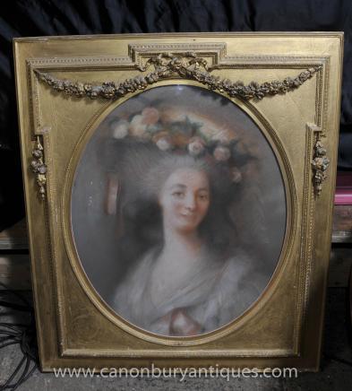 Antique Victorian Pastel Portrait Maiden Carica 1880 Art Gilt Frame