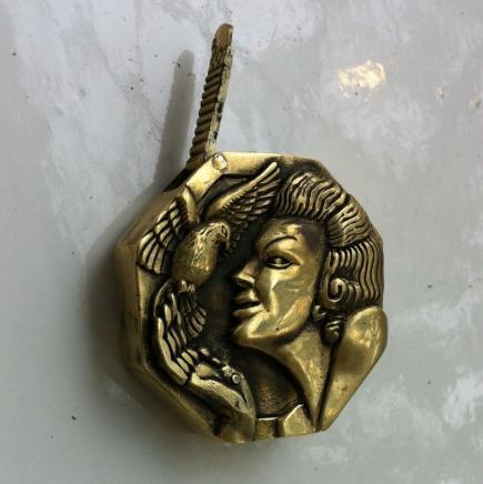 Art Deco Brass Vesta Lady with Dove