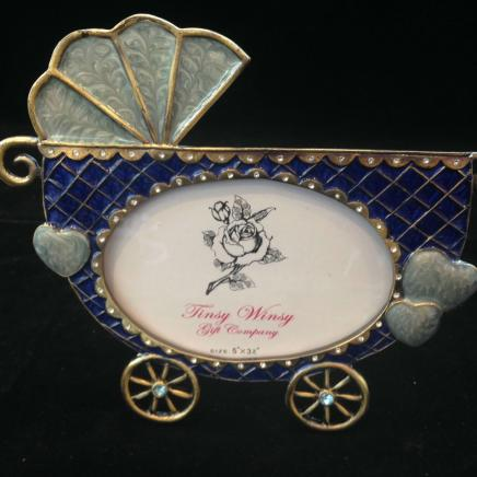 Blue Enamel & Diamonte Baby Buggy Photograph Frame