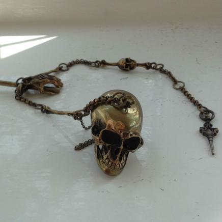 Brass Skull Snuff Fob on Chain