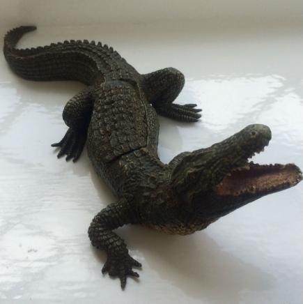 Bronze Crocodile with Lady Inside