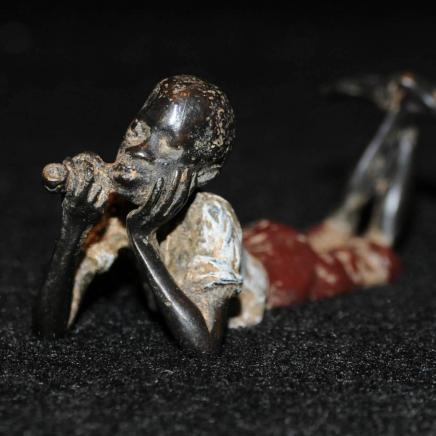 Cold Painted Negro Boy Smoking Pipe Marked Geshutz