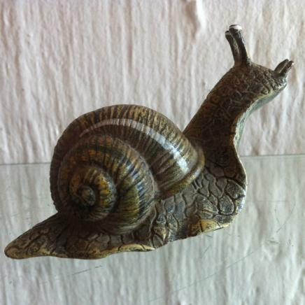 Cold Painted Vienna Bronze in Shape of Snail Signed Bergman