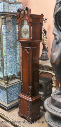 English Antique Mini Grandfather Clock Mahogany Clocks Grandmother