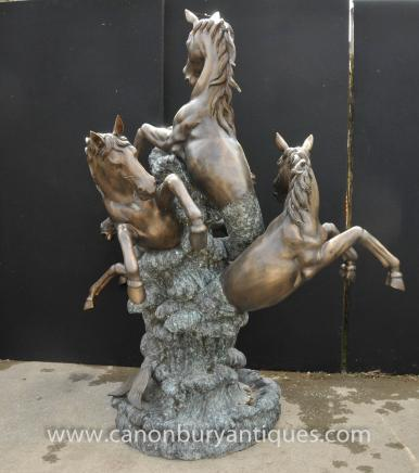 English Bronze Leaping Horse Fountain Garden Water Feature