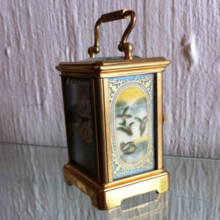 French Bronzer Carriage Clock with Sevres Panels & Key