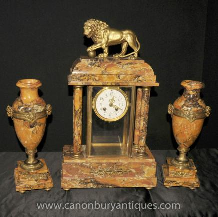 French Empire Marble Clock Urn Garniture Set Mantle Clocks
