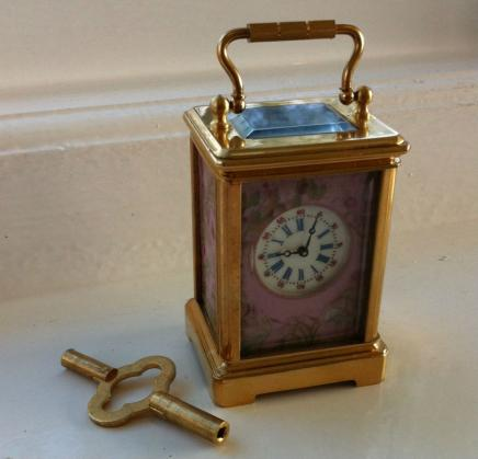French Gilded Bronze & Porcelain Carriage Clock