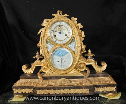 French Louis XVI Ormolu Mantle Clock Rococo Time Marble Base