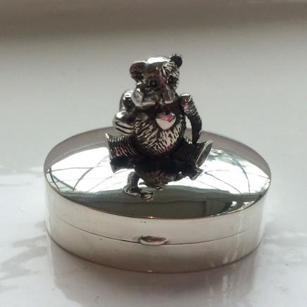 HM Silver Trinket with Mechanical Teddy Bear