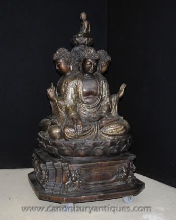 Large Bronze 4 Burmese Buddha Statues Lotus Shakyamuni Buddhism Buddhist