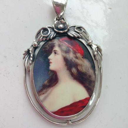 Large Silver Classic Lady Pendant