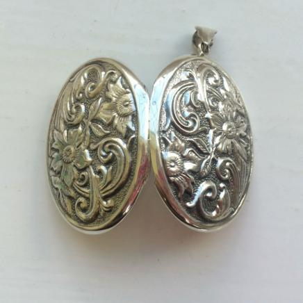 Large Solid Silver Flower Locket