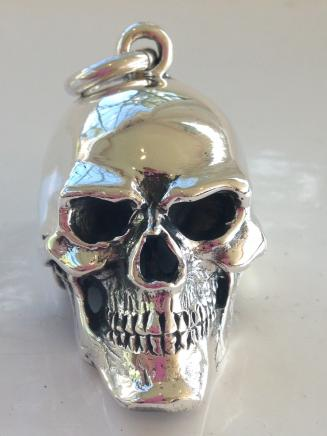 Large Solid Silver Gothic Skull Pendant