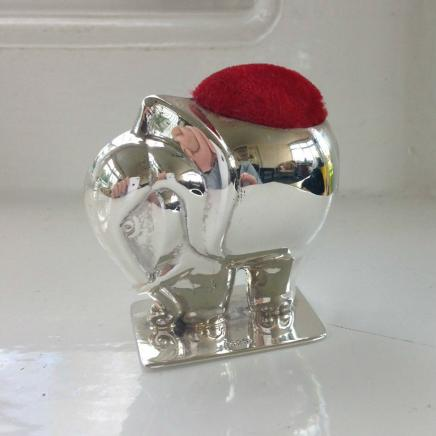 Large Sterling Silver Elephant Pin Cushion