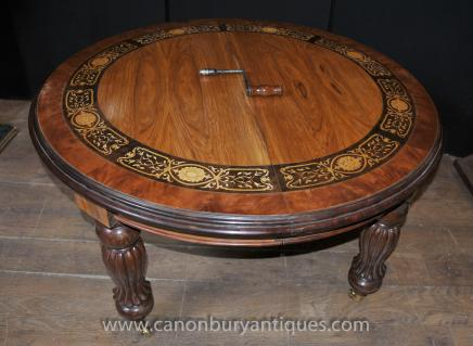 Large Victorian Walnut Inlay Dining Table Tables Leaf System