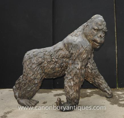 Lifesize Bronze Gorilla Statue Casting Animal Primate Ape Monkey