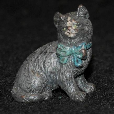 Little Bronze Cat Wearing Bow